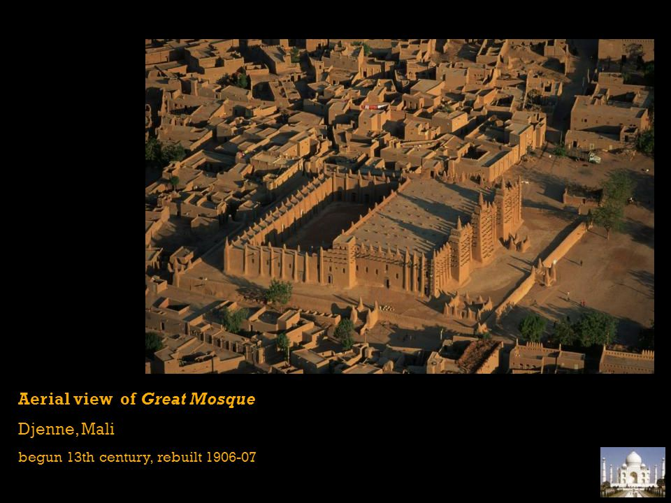 Aerial view of Great Mosque Djenne, Mali