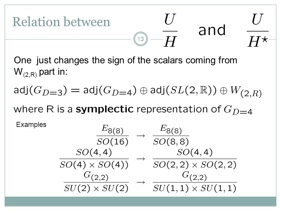 Relation between One just changes the sign of the scalars coming from W(2,R) part in: Examples