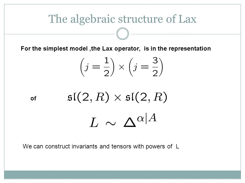 The algebraic structure of Lax