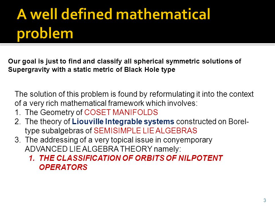 A well defined mathematical problem