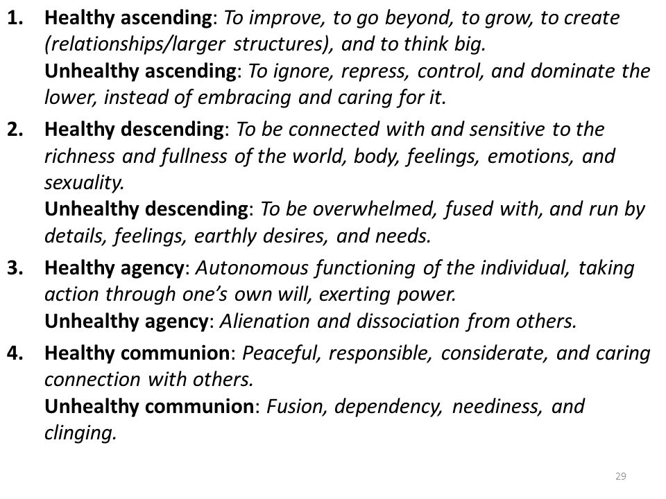 Healthy ascending: To improve, to go beyond, to grow, to create (relationships/larger structures), and to think big. Unhealthy ascending: To ignore, repress, control, and dominate the lower, instead of embracing and caring for it.