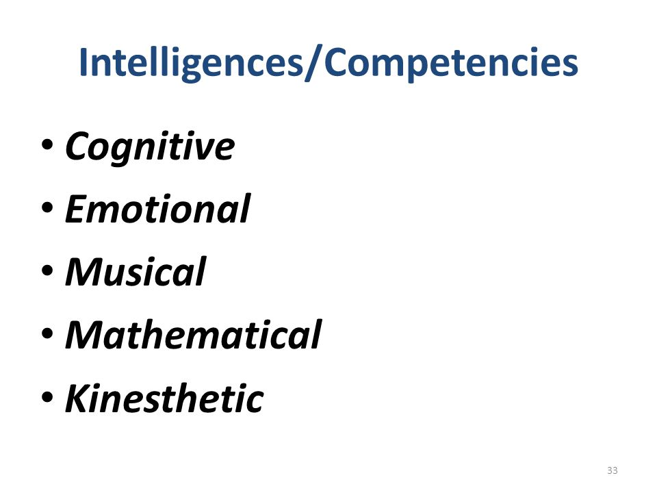 Intelligences/Competencies
