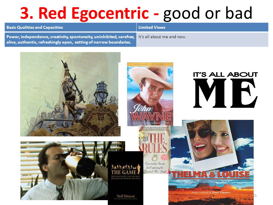 3. Red Egocentric - good or bad