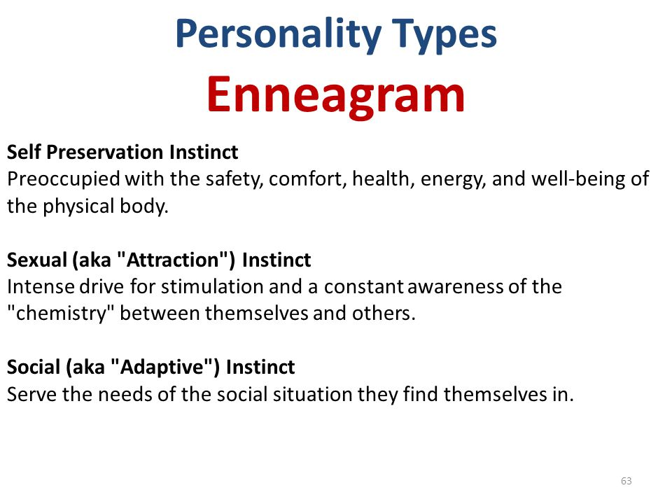 Enneagram Personality Types Self Preservation Instinct