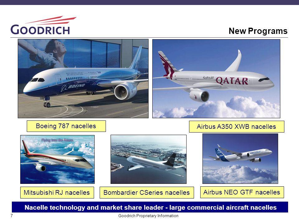 New Programs Boeing 787 nacelles Airbus A350 XWB nacelles