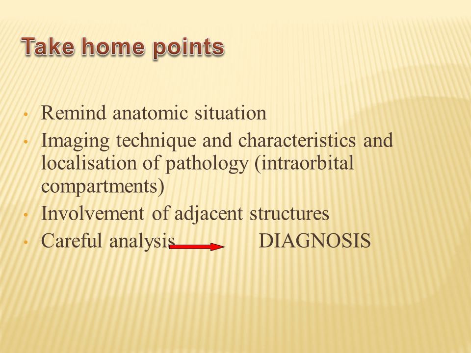 Take home points Remind anatomic situation