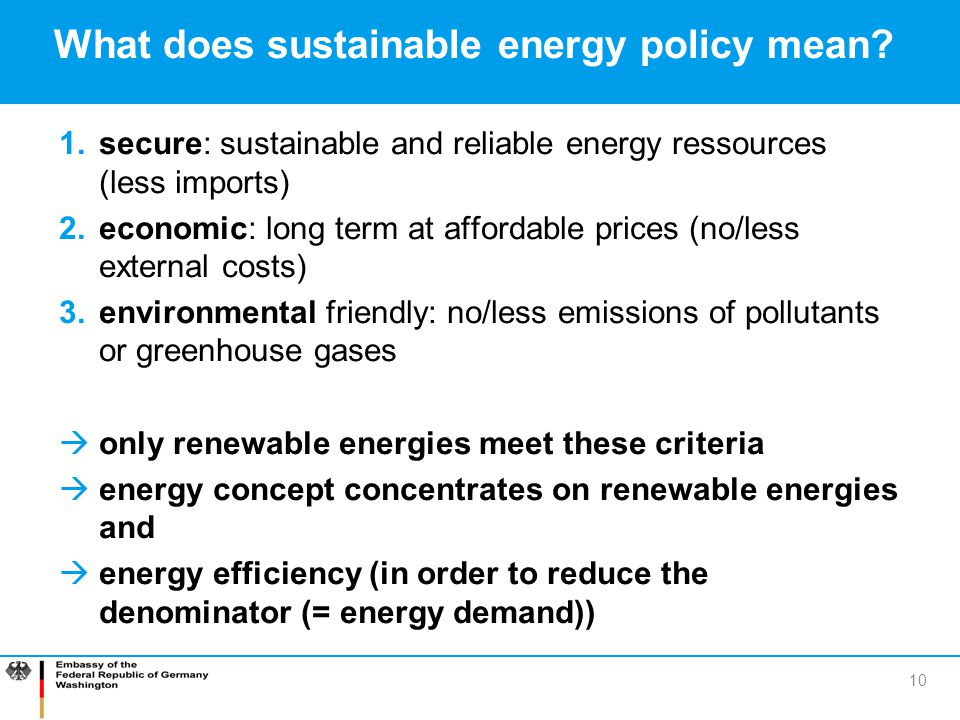What does sustainable energy policy mean