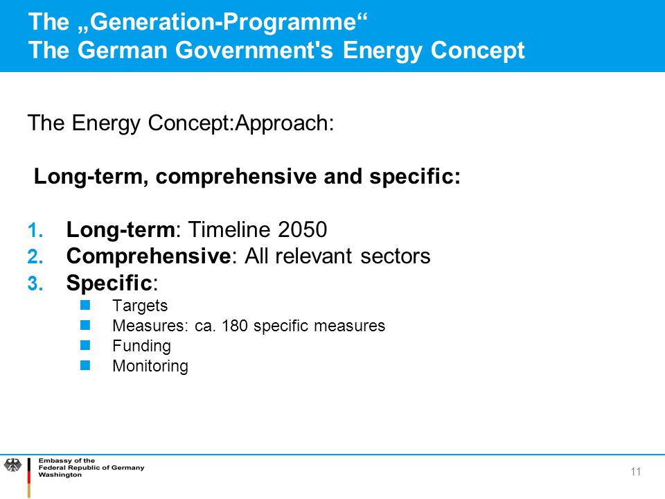 "The ""Generation-Programme The German Government s Energy Concept"