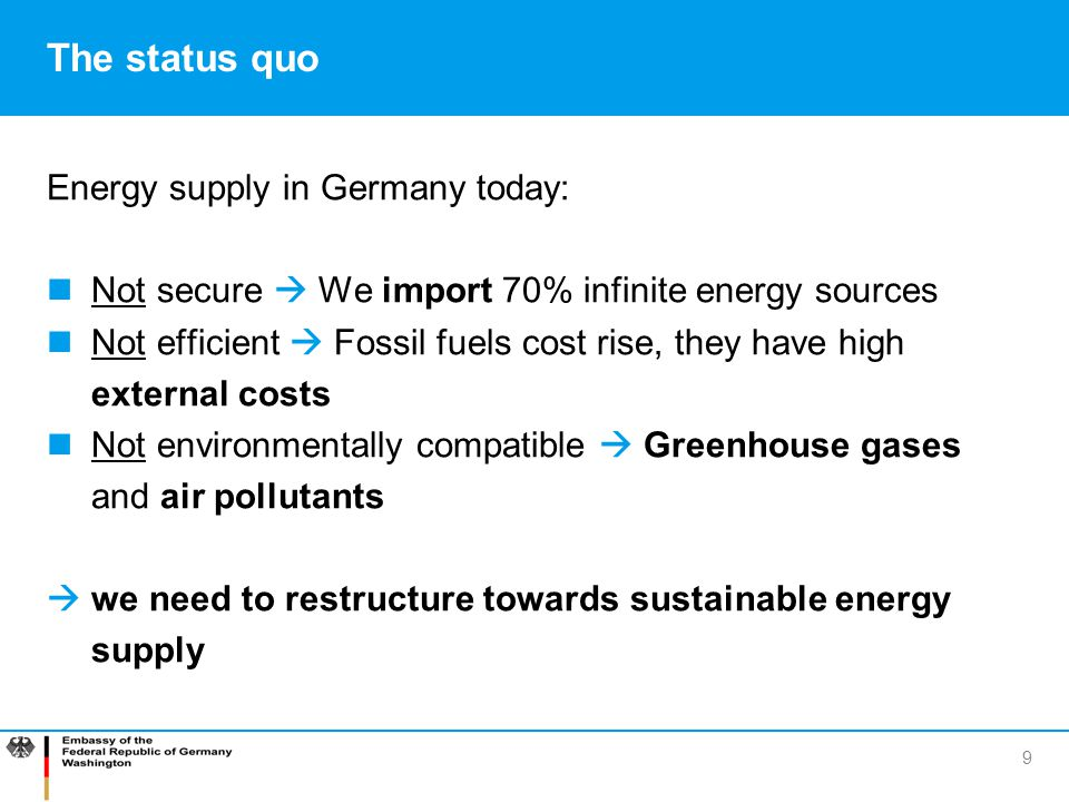 The status quo Energy supply in Germany today:
