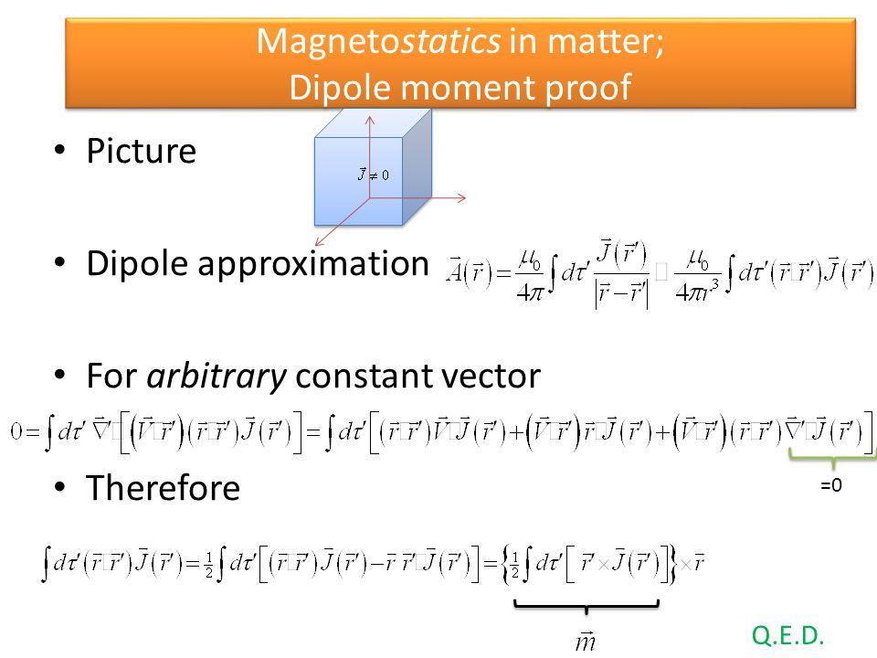 Magnetostatics in matter; Dipole moment proof