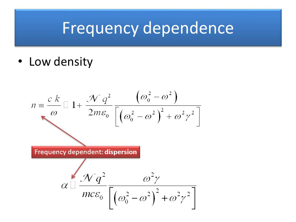 Frequency dependence Low density Frequency dependent: dispersion