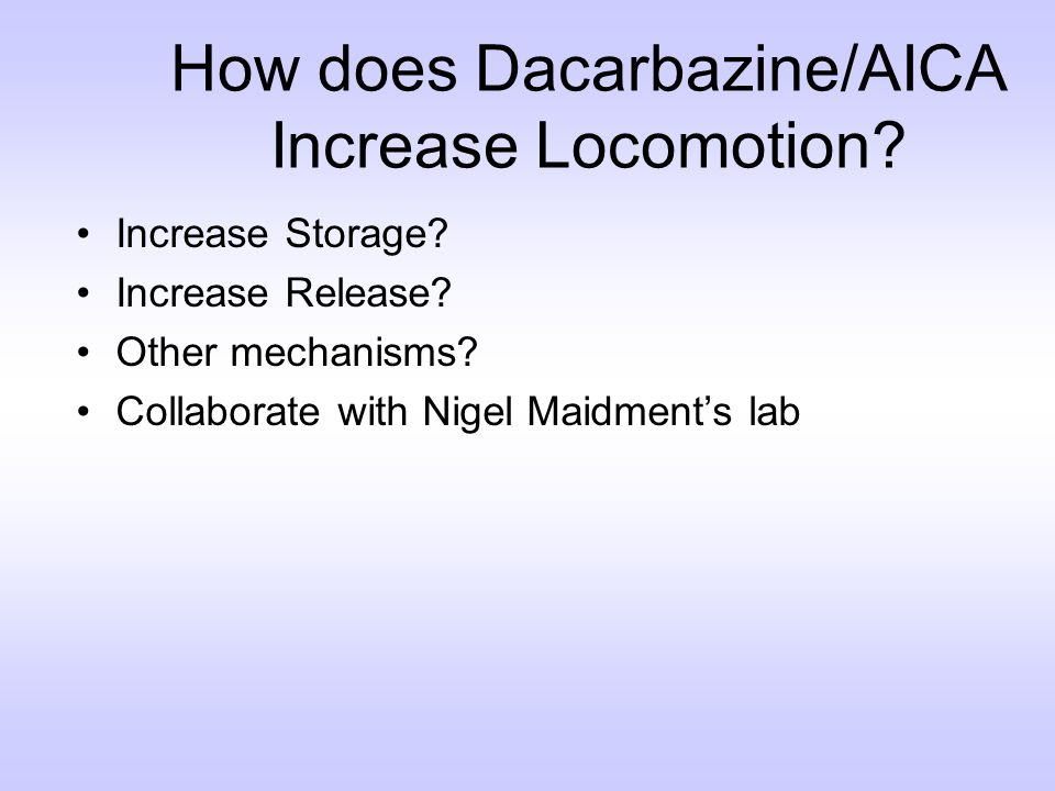 How does Dacarbazine/AICA Increase Locomotion