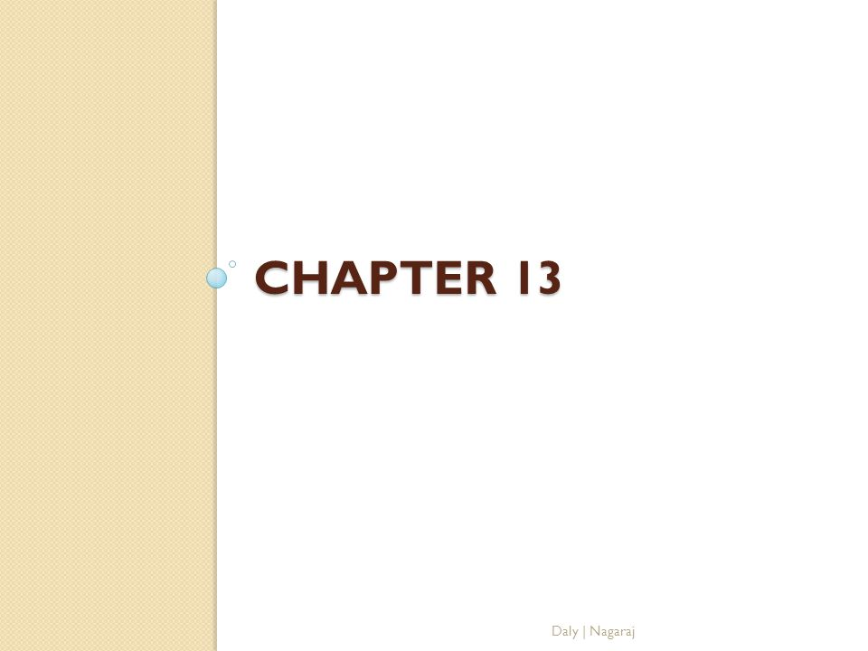 Chapter 13 Daly | Nagaraj