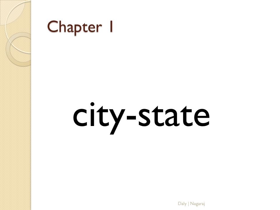 Chapter 1 city-state Daly | Nagaraj