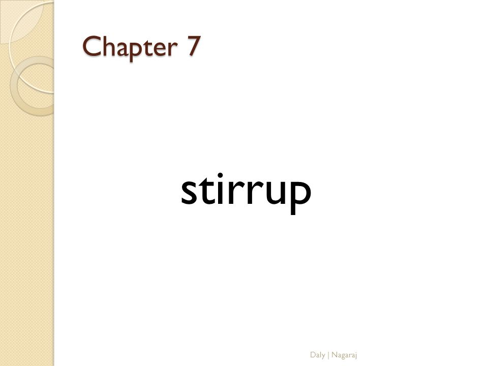 Chapter 7 stirrup Daly | Nagaraj