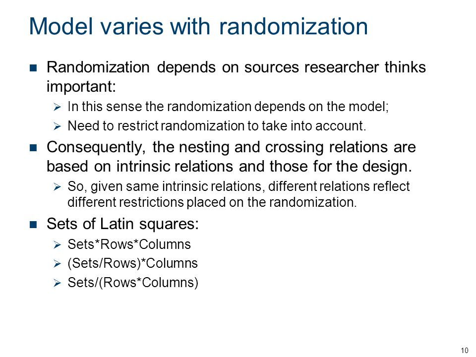 Model varies with randomization