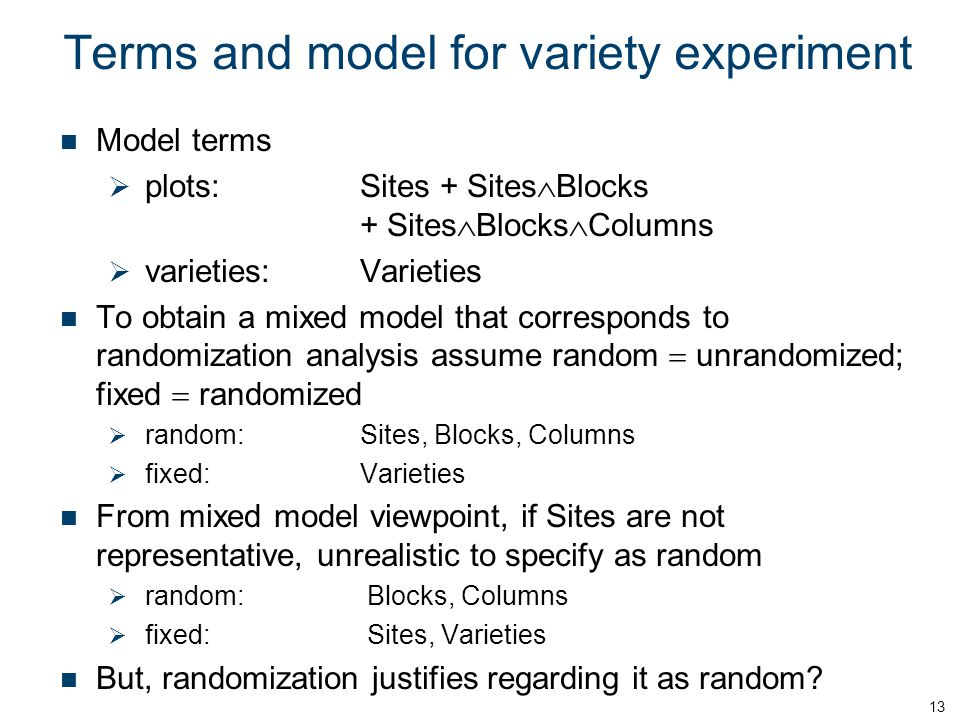 Terms and model for variety experiment
