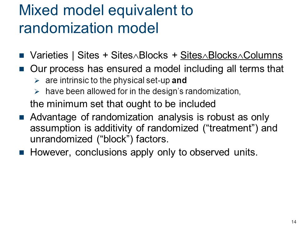 Mixed model equivalent to randomization model