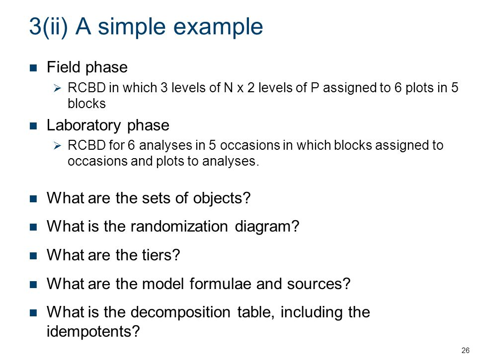 3(ii) A simple example Field phase Laboratory phase