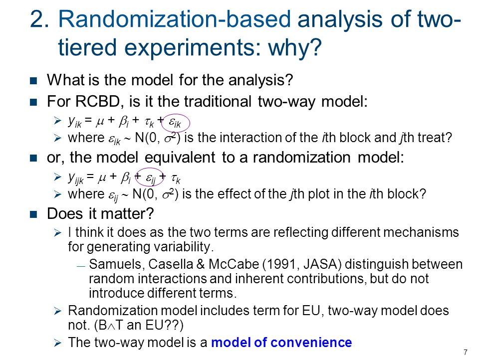 2. Randomization-based analysis of two-tiered experiments: why