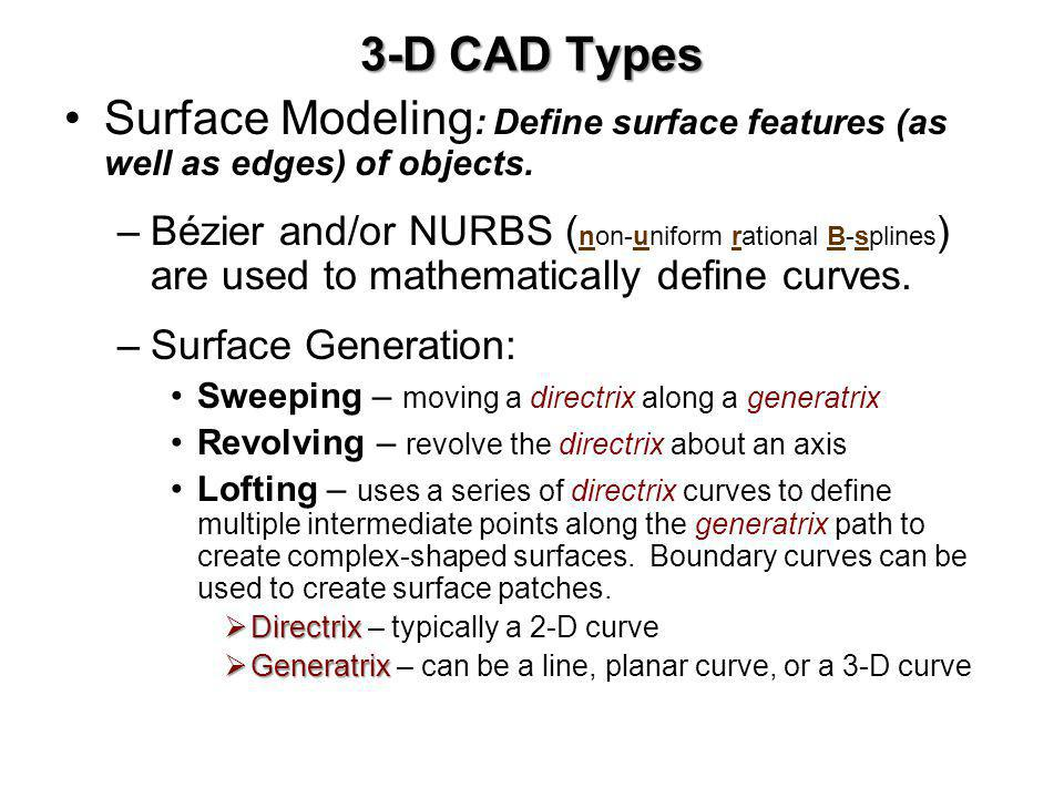 3-D CAD Types Surface Modeling: Define surface features (as well as edges) of objects.