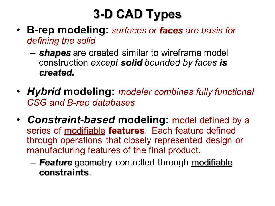 3-D CAD Types B-rep modeling: surfaces or faces are basis for defining the solid.