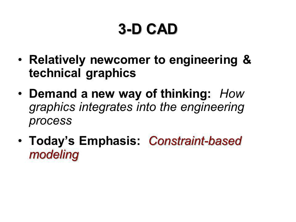 3-D CAD Relatively newcomer to engineering & technical graphics