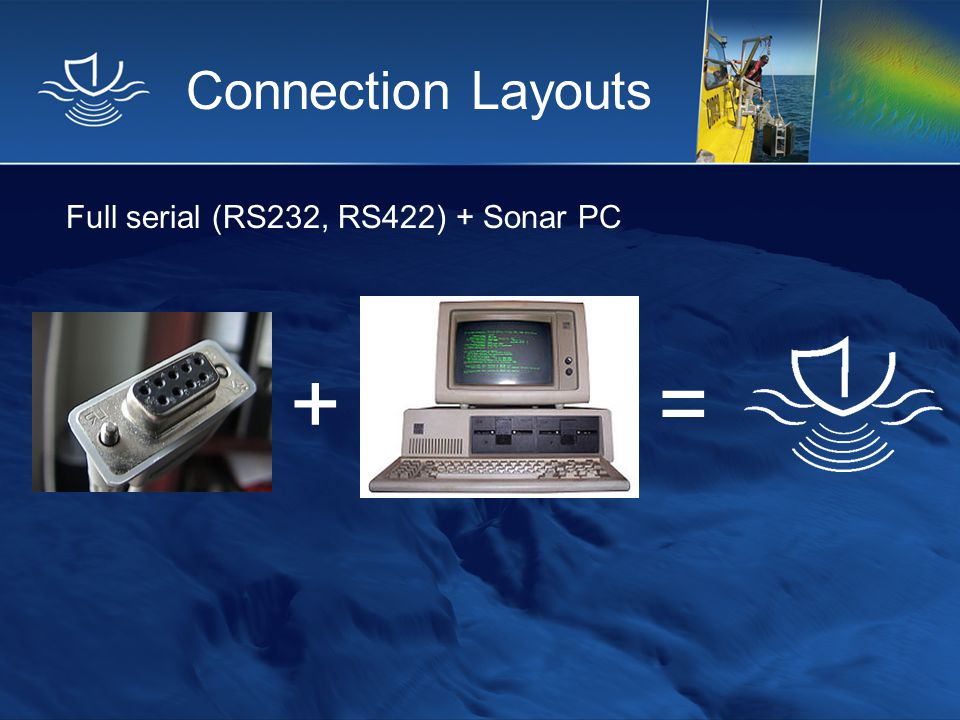 Connection Layouts Full serial (RS232, RS422) + Sonar PC + =