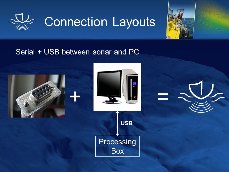 + = Connection Layouts Serial + USB between sonar and PC