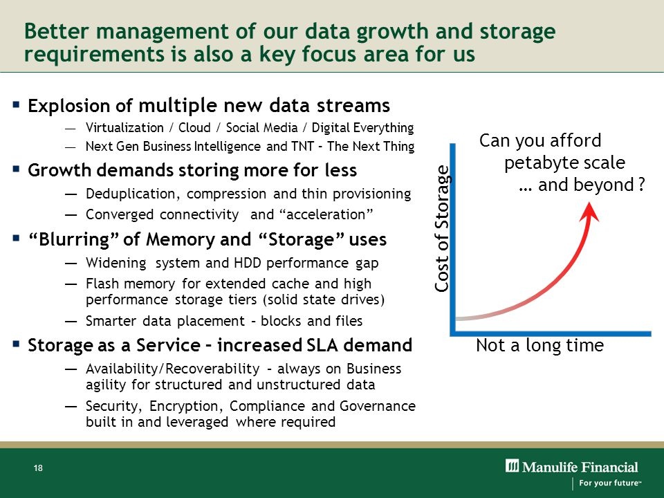 Better management of our data growth and storage requirements is also a key focus area for us