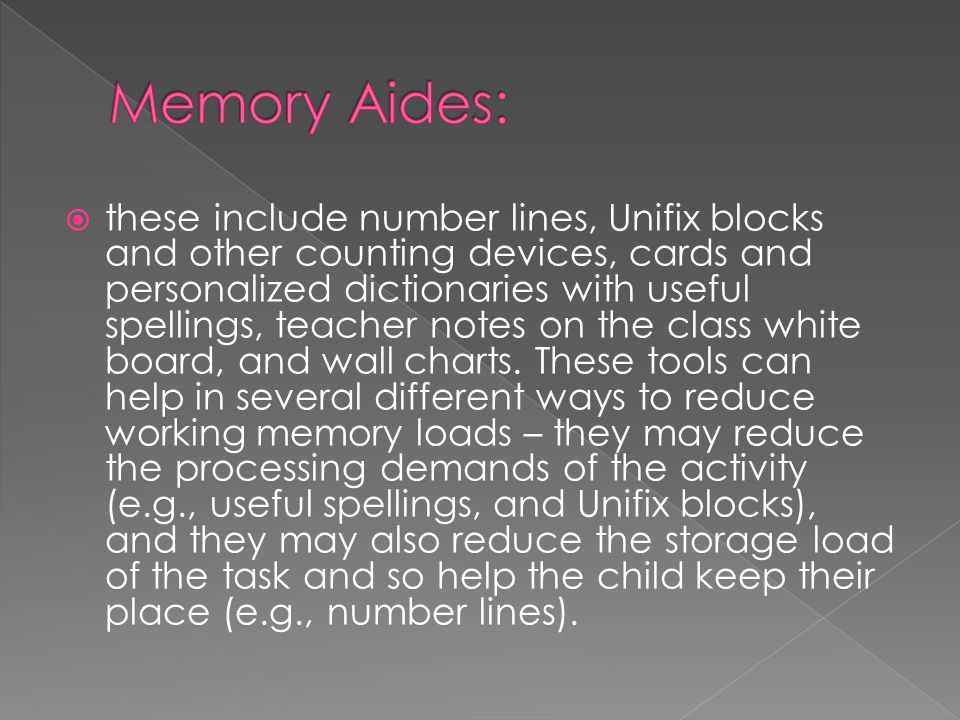 Memory Aides: