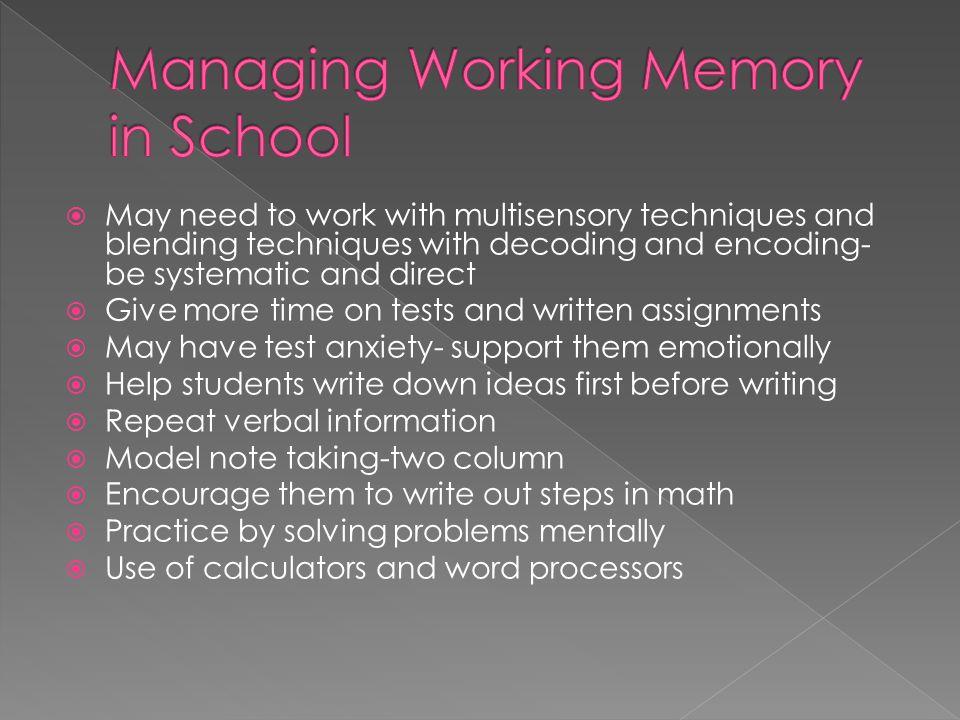Managing Working Memory in School
