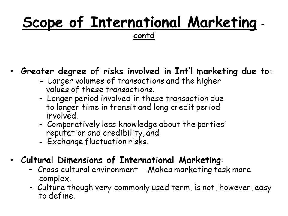 scope of international advertising Introduction to global marketing the scope of marketing is broadened when the organisation decides to sell across international advertising, transporting.
