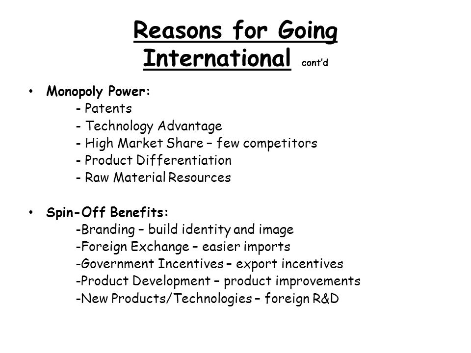 reasons for companies going internationally