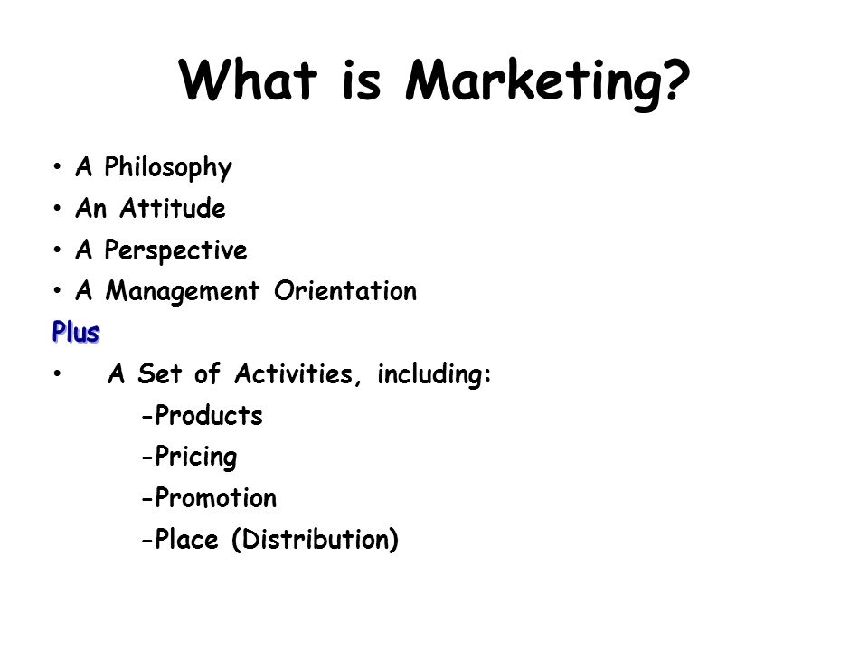 What is Marketing A Philosophy An Attitude A Perspective