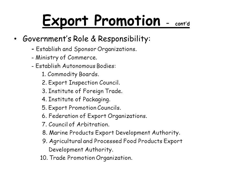 Export Promotion – cont'd