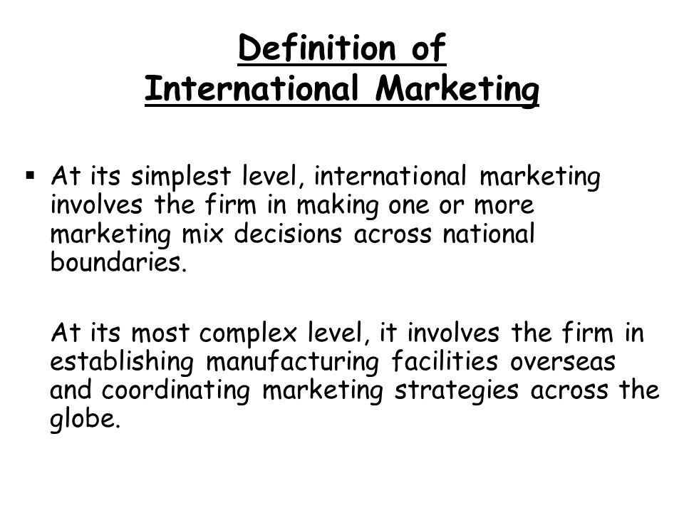 Foreign marketing definition