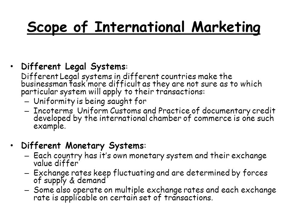 Scope of International Marketing