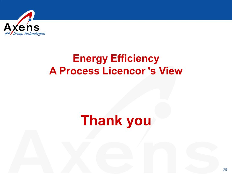 Energy Efficiency A Process Licencor s View