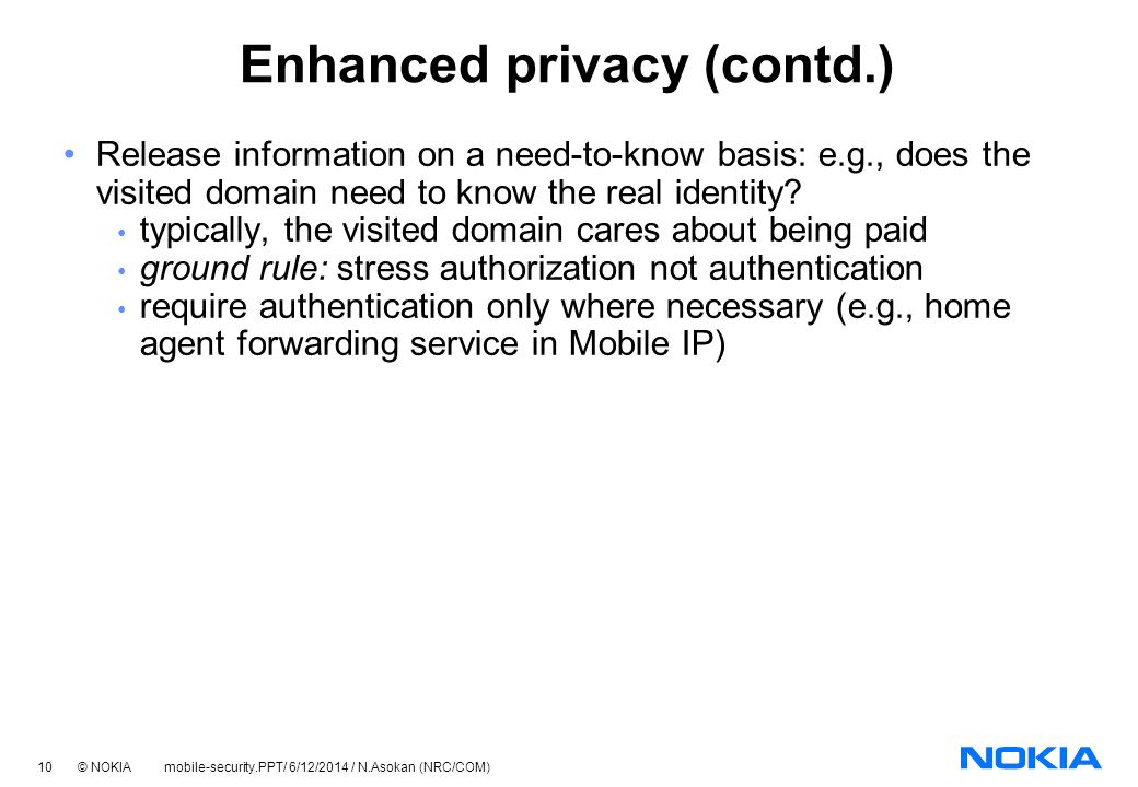 Enhanced privacy (contd.)