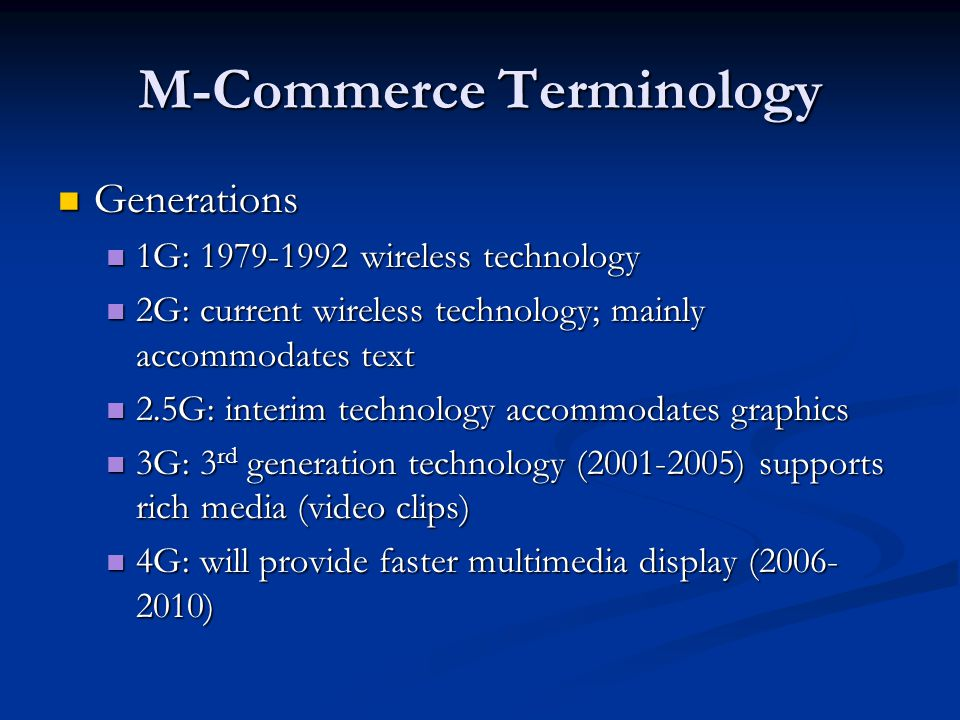 M-Commerce Terminology