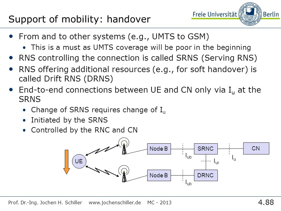 Support of mobility: handover