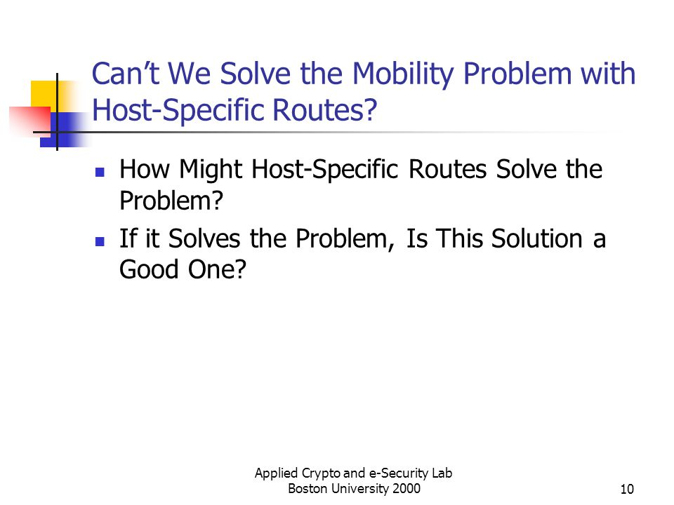 Can't We Solve the Mobility Problem with Host-Specific Routes