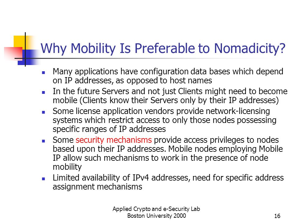 Why Mobility Is Preferable to Nomadicity