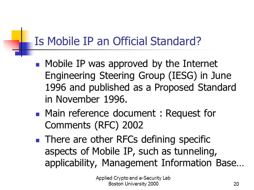 Is Mobile IP an Official Standard