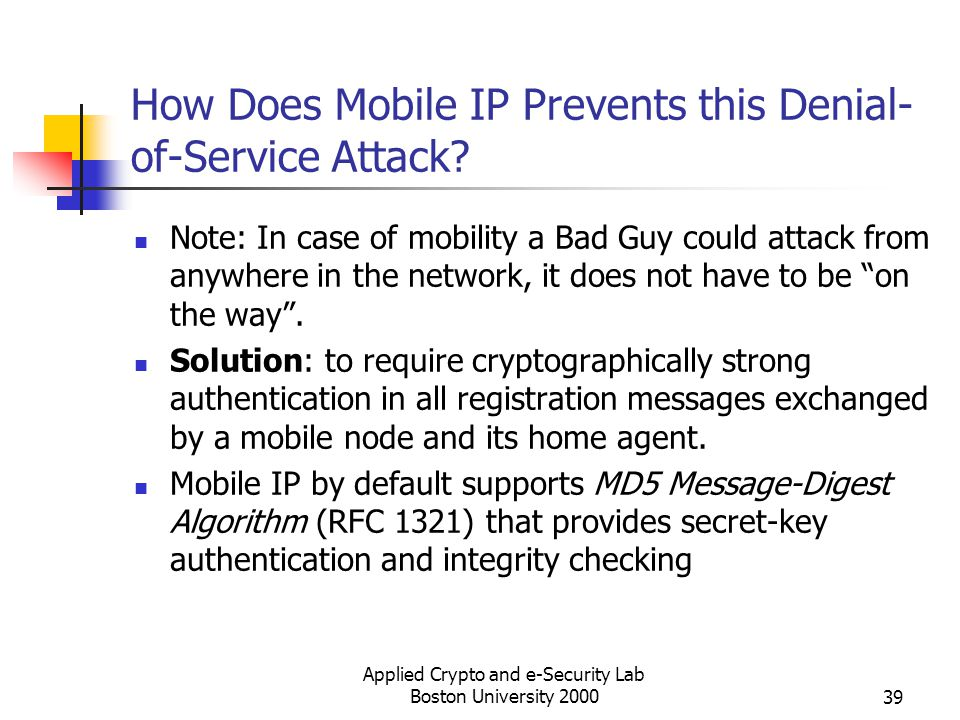 How Does Mobile IP Prevents this Denial-of-Service Attack