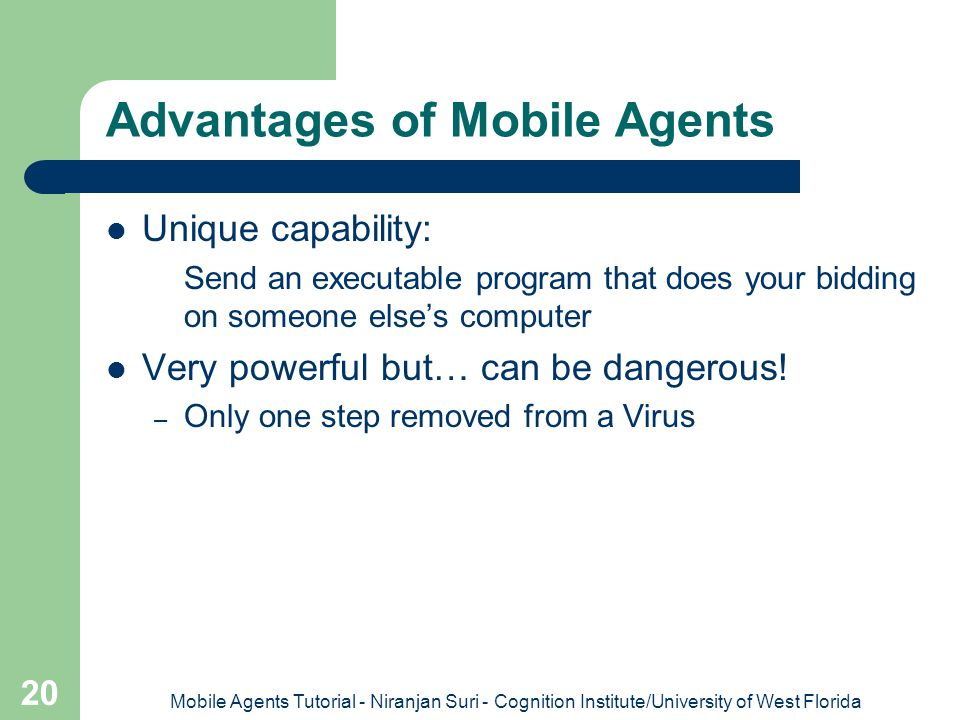 Advantages of Mobile Agents