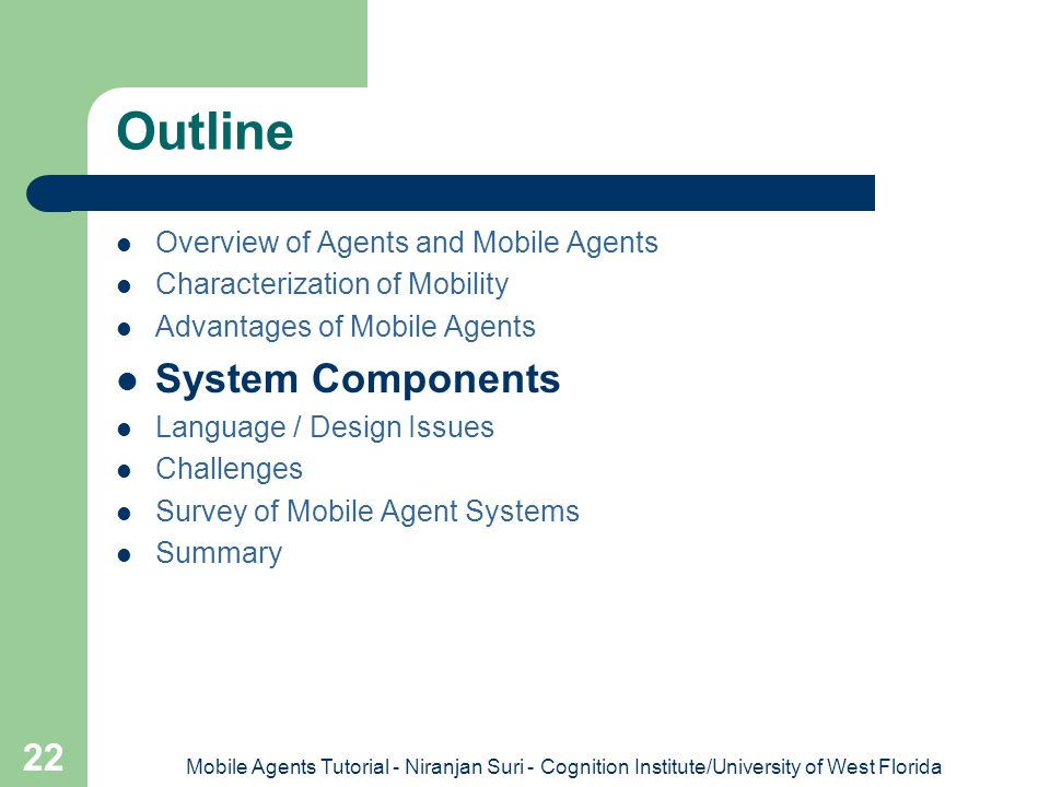 Outline System Components Overview of Agents and Mobile Agents