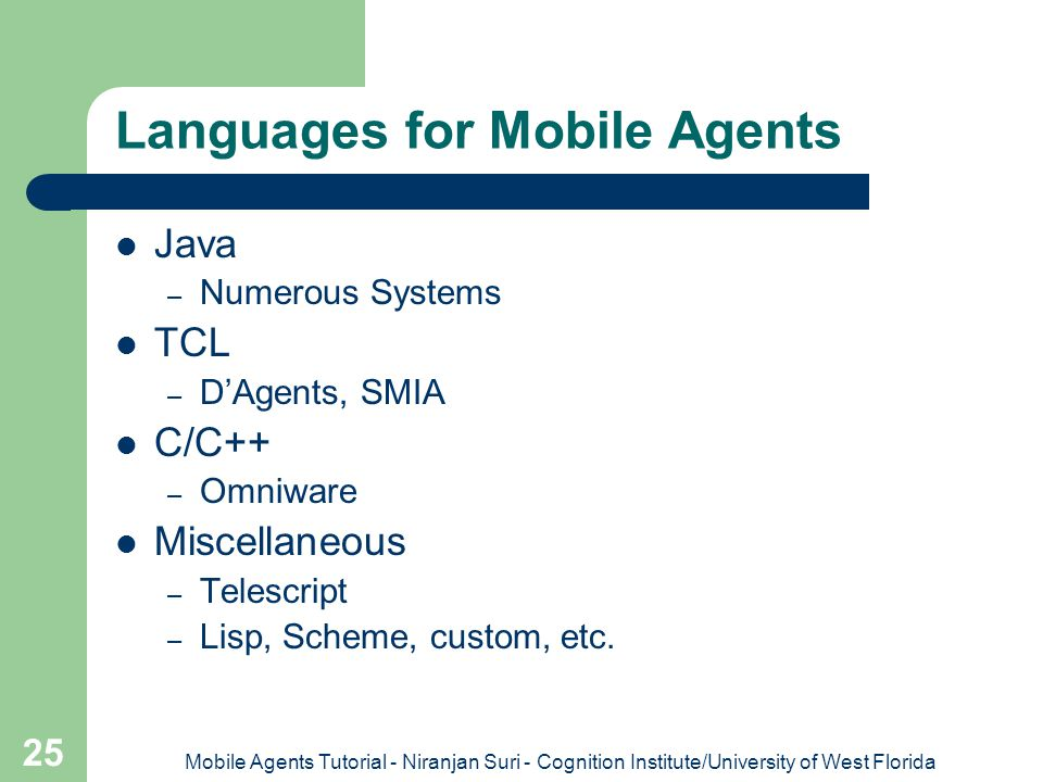 Languages for Mobile Agents