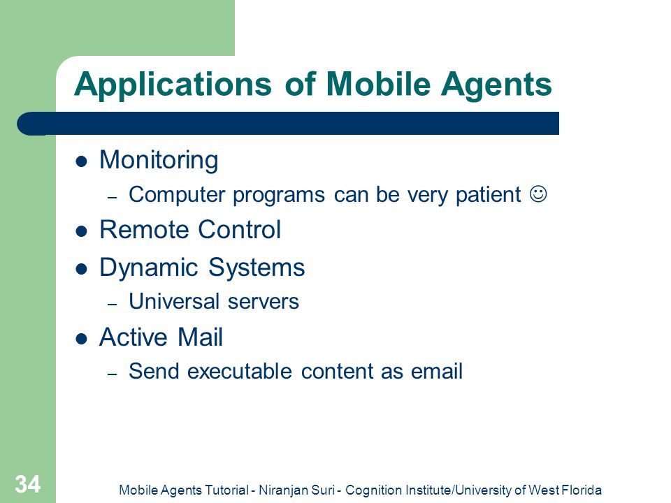 Applications of Mobile Agents